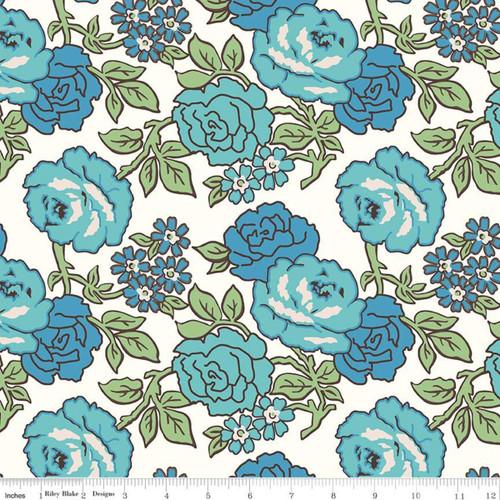 Riley Blake Fabrics - Roses Blue - Flea Market  - Lori Holt - WIDE BACK
