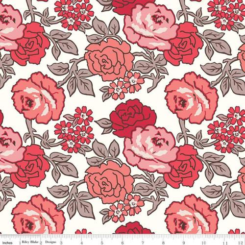 Riley Blake Fabrics - Roses Red - Flea Market  - Lori Holt - WIDE BACK