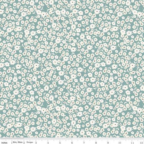Riley Blake Fabrics - Blossoms Teal - Gingham Gardens - My Mind's Eye