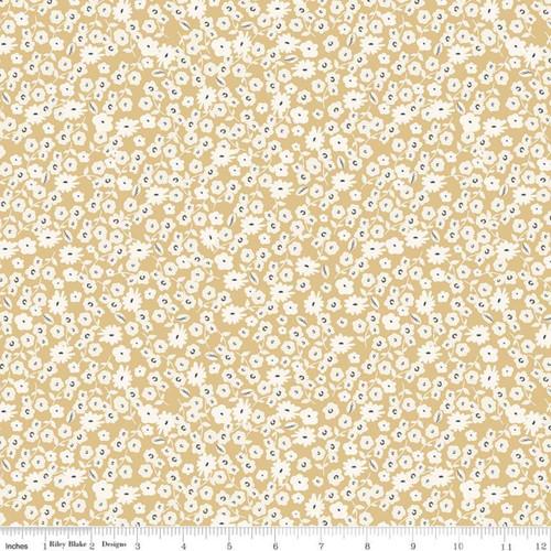 Riley Blake Fabrics - Blossoms Gold - Gingham Gardens - My Mind's Eye