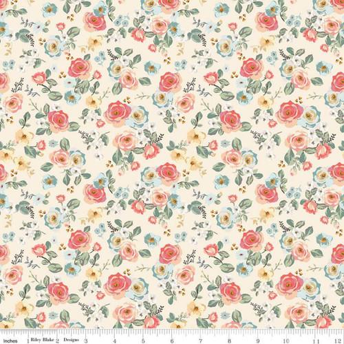 Riley Blake Fabrics - Floral Cream - Gingham Gardens - My Mind's Eye