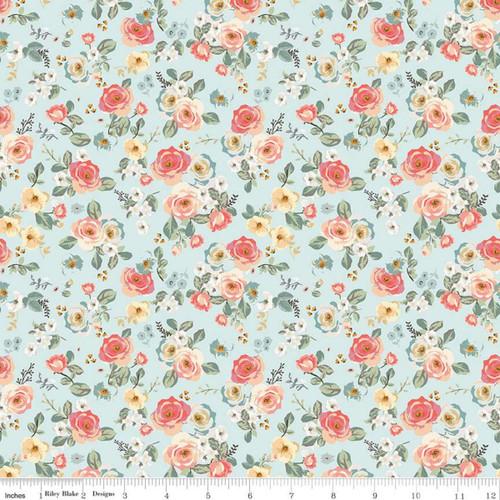 Riley Blake Fabrics - Floral Aqua- Gingham Gardens - My Mind's Eye
