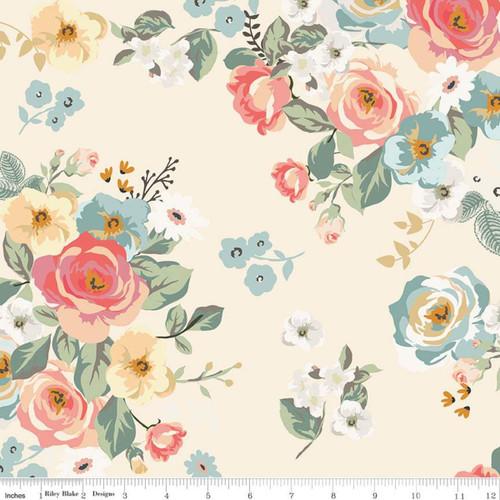 Riley Blake Fabrics - Main Cream - Gingham Gardens - My Mind's Eye