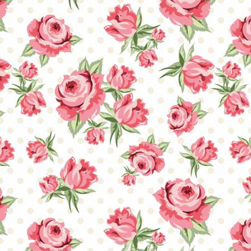 Poppie Cotton - White Prize Roses - Dots & Posies - Poppie Cotton Collection
