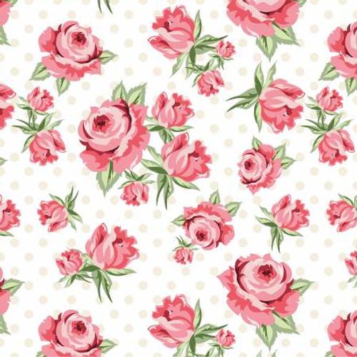 Poppie Cotton - White Prize Roses - Dots & Posies - Poppie Cotton Collection