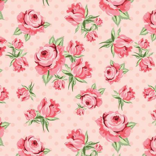 Poppie Cotton - Blush Prize Roses - Dots & Posies - Poppie Cotton Collection