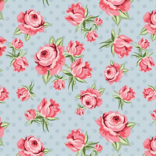 Poppie Cotton - Blue Prize Roses - Dots & Posies - Poppie Cotton Collection