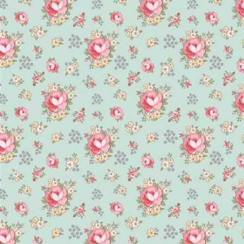 Poppie Cotton - Teal Primroses - Dots & Posies - Poppie Cotton Collection