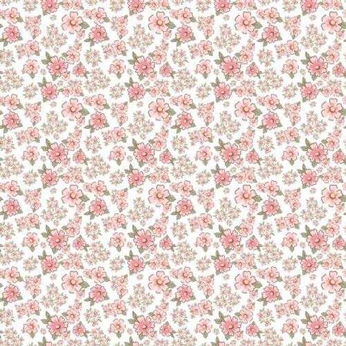 Poppie Cotton - White Mini Fleurs - Dots & Posies - Poppie Cotton Collection