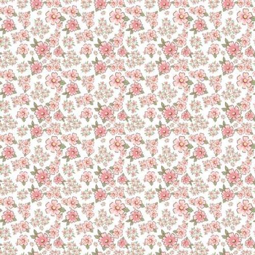 Poppie Cotton - White Mini Fleurs - Dots & Posies - Poppie Cotton Collection