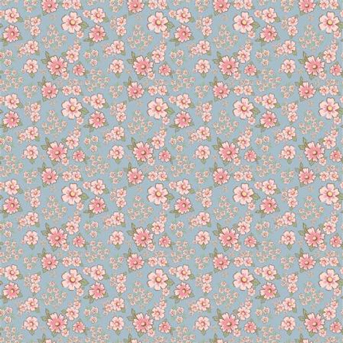 Poppie Cotton - Blue Mini Fleurs - Dots & Posies - Poppie Cotton Collection