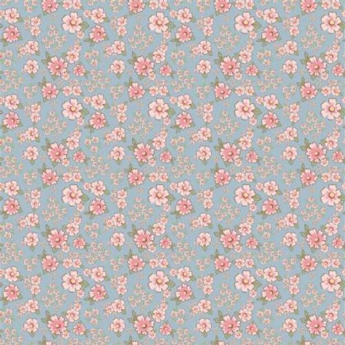 Poppie Cotton - Blue Mini Fleurs - Dots & Posies - Poppie Cotton Collection