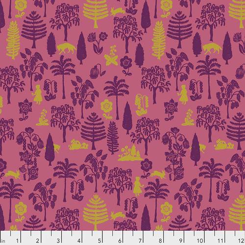 Free Spirit Fabrics - Nearby Wolf Coral - Woodland Walk - Nathalie Lete