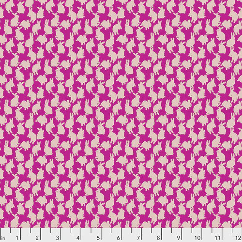 Free Spirit Fabrics - Mini Rabbits Fuchsia - Woodland Walk - Nathalie Lete