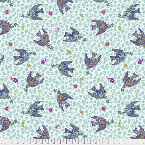 Free Spirit Fabrics - The Swallows Azure - Woodland Walk - Nathalie Lete