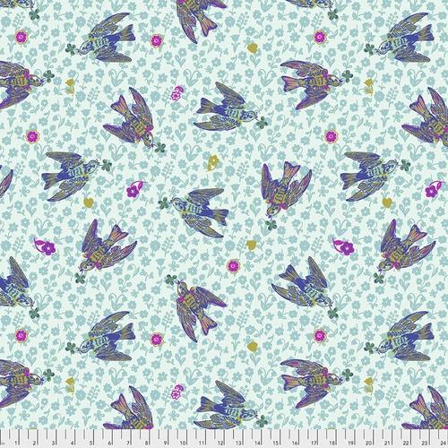 Free Spirit Fabrics - The Swallows Azure - Woodland Walk - Nathalie Lete