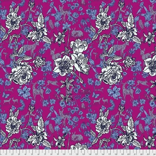 Free Spirit Fabrics - Fawn in Flowers Pink - Woodland Walk - Nathalie Lete