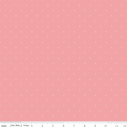 Riley Blake Fabrics - Coral - Bee Cross Stitch - Lori Holt