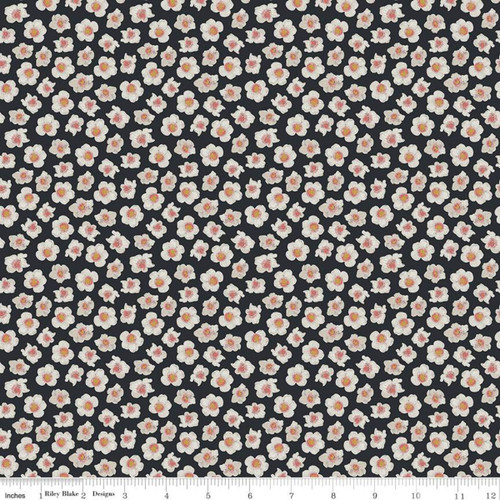 Flowers Charcoal - Faith Hope & Love - Sue Daley - Riley Blake Designs