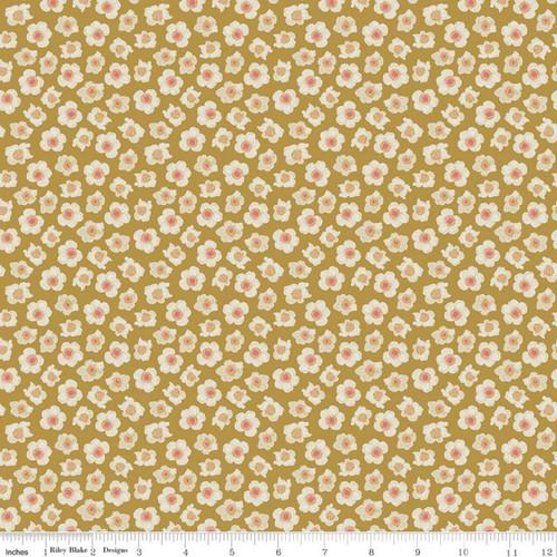Flowers Antique Gold - Faith Hope & Love - Sue Daley - Riley Blake Designs