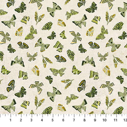 Butterflies Green Multi - Wildflower - Boccaccini Meadows - Figo Fabrics