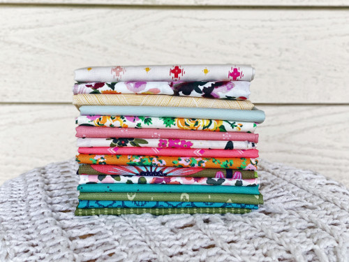 Summertime Fat Quarter Bundle  - 15 Pieces - Curated for the Little Miss Sawtooth OR Sugar Bear Quilts