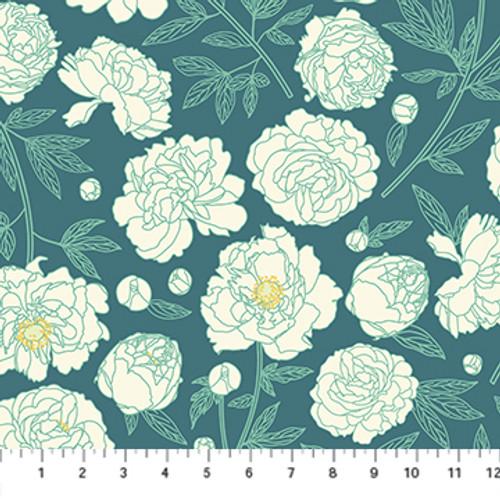 Primavera - Peony Teal Multi - Pippa Shaw - Figo Fabrics