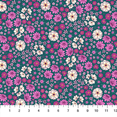 Primavera - Scattered Flora Green Multi - Pippa Shaw - Figo Fabrics