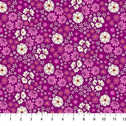 Primavera - Scattered Flora Magenta Multi - Pippa Shaw - Figo Fabrics
