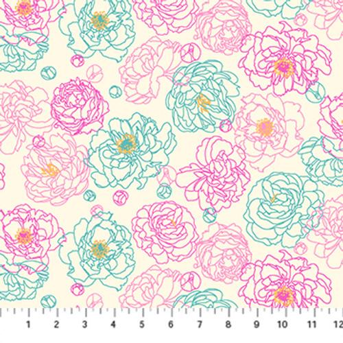 Primavera - Peony Outline Beige Multi - Pippa Shaw - Figo Fabrics