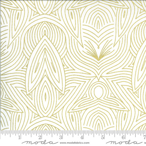 Line Drawing Ivory Gold - Dwell in Possibility - Gingiber - Moda