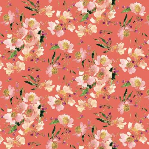 Coral Clair de Lune - Wildflowers - Kelly Ventura - Windham Fabrics