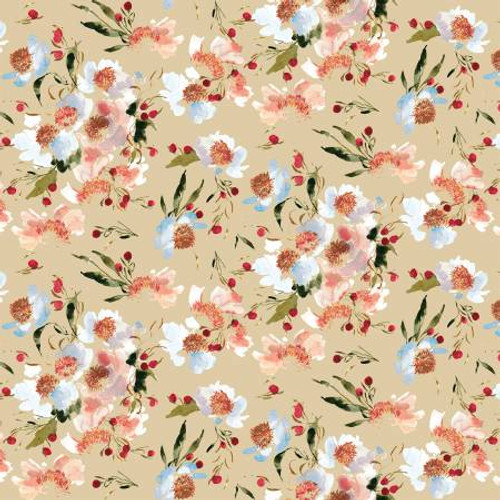 Almond Clair de Lune - Wildflowers - Kelly Ventura - Windham Fabrics