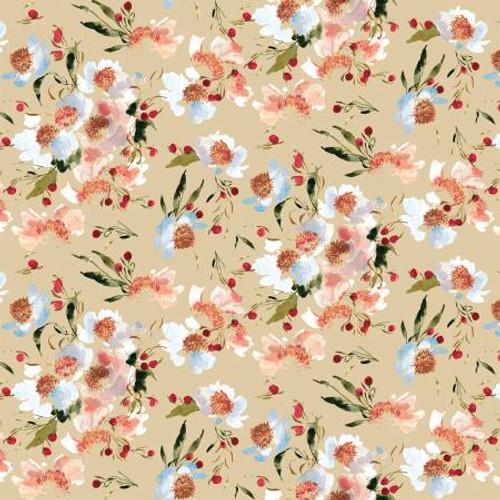 Almond Clair de Lune - Wildflowers - Kelly Ventura - Windham Fabrics