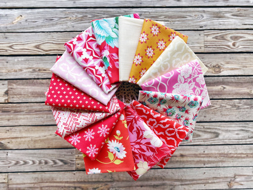 Red Hot True Kisses Fat Quarter Bundle - 14 pieces - Heather Bailey