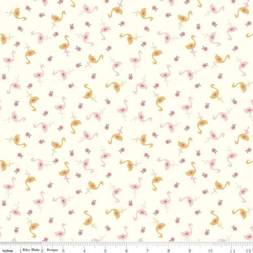 Flamingos Vintage White - Stardust - Beverly McCullough - Riley Blake
