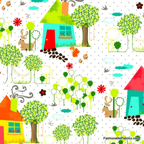 Anthology Fabrics - Yard Scene in white - The Woodlands Collection - By Khristian Howell
