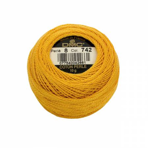 Pearl Cotton Balls - Size 8 - Light Tangerine - Color 742