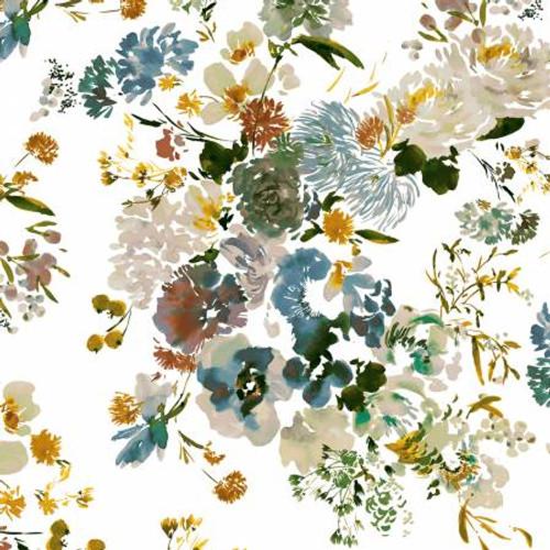 Teal Wildflowers - Wildflowers - Kelly Ventura - Windham Fabrics