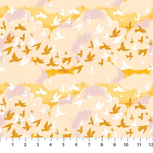 Birds Yellow Multi - Summer's End - Alison Janssen - Figo Fabrics