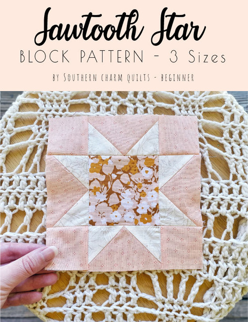 CONTEST ENTRY + Sawtooth Star Block Pattern - 3 Sizes - PDF Download