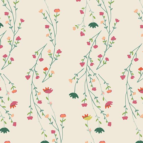 Climbing Posies Pale - Garden Dreamer - Maureen Cracknell  - Art Gallery Fabrics