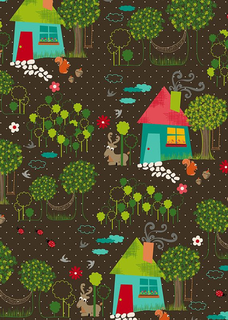 Anthology Fabrics - Yard Scene in brown - The Woodlands Collection - By Khristian Howell
