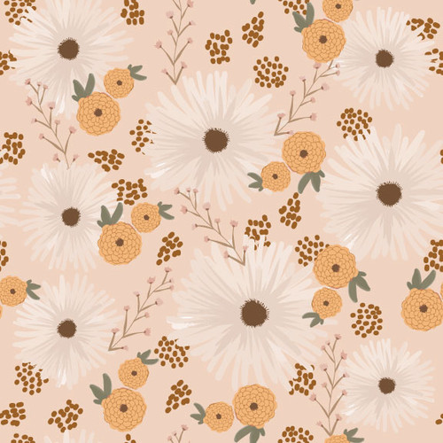 Daisies & Zinnias Ice Peach - Earthy Goodness - Melanie Traylor - Southern Charm Quilts - Arriving September 2021