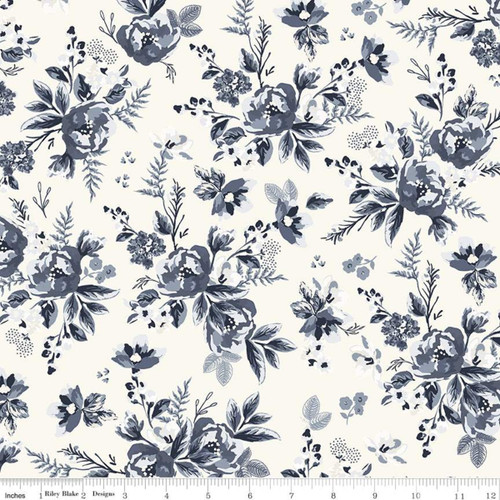 Floral Cream - Gingham Foundry - My Mind's Eye - Riley Blake Fabrics