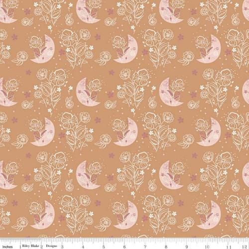 Floral Moons Orange - Beneath The Western Sky - Gracey Larson - Riley Blake Fabrics