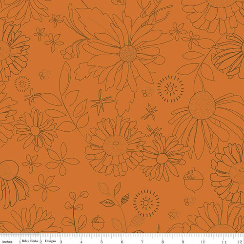 Persimmon - WIDE BACK - Adel in Autumn - Sandy Gervais - Riley Blake Designs