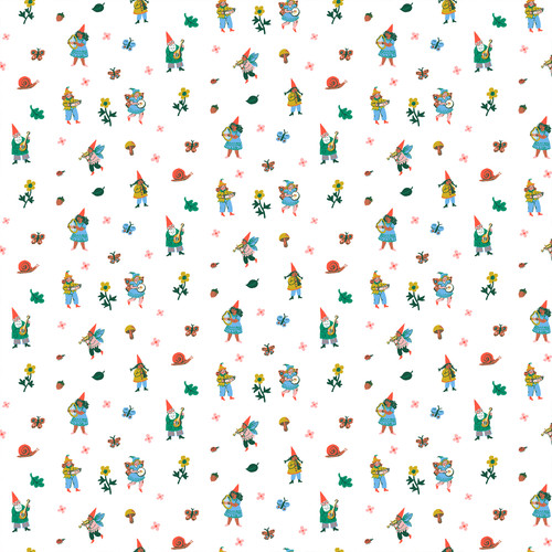 Gnomes White Multi - Garden Jubilee - Phoebe Wahl - Figo Fabrics
