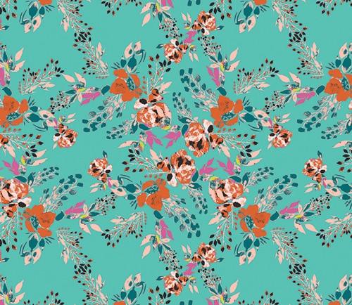 Art Gallery Fabrics - Episodic Blooms in Aqua - Virtuosa - By Bari J