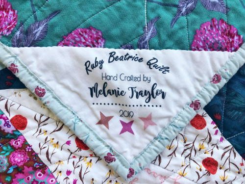 Custom Ruby Beatrice Quilt Label